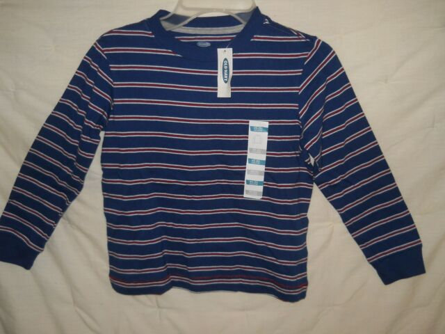 bda2593bb9847 Old Navy Shirt Boys 4 5 Tee Navy Blue Red White Striped Long Sleeve Cotton