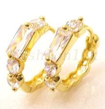 Women 14K Gold Plated Clear Simulated Diamond Hoop Earrings 16mm Xmas Birthday