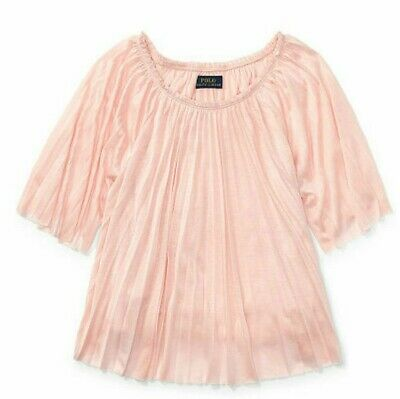 6 Objective Nwt Ralph Lauren Girl's 'fall Ii' 554655 Pleated Petal Jersey Top
