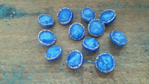 ♥Nr 3 Tolle alte Glasknöpfe 12 Stück mondscheinblau gold 13,5 mm♥
