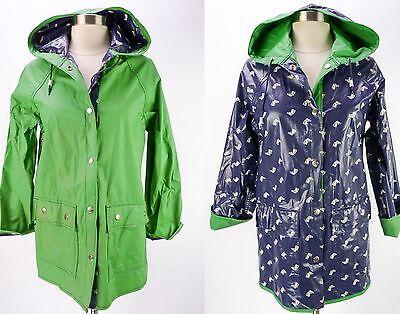 Vtg 80s HORSE Print Reversible Blue/Green Vinyl PVC Rain Coat Slicker Jacket S