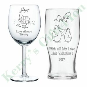 Image is loading Personalised-Engraved-Glass-Gift -Love-Husband-Wife-Valentines-