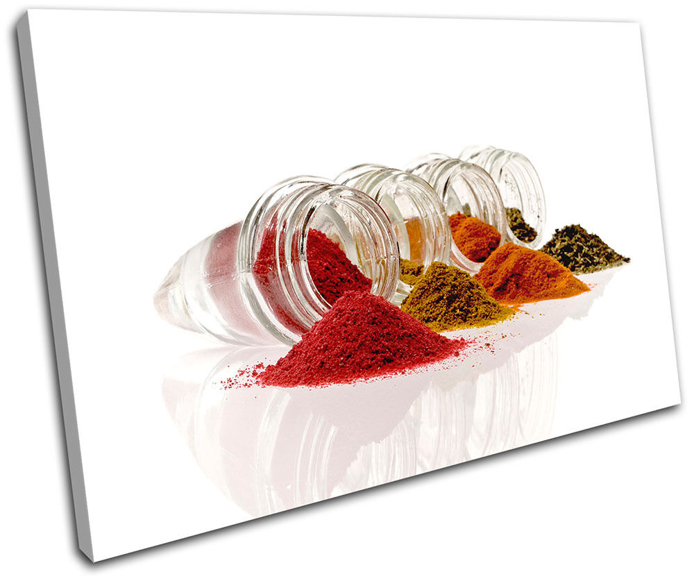 Kitchen Spices Jars Food Kitchen SINGLE TOILE murale ART Photo Print