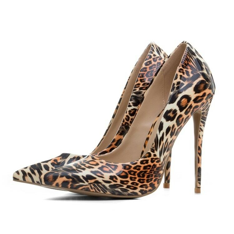 Womens Sexy Leopard grain High Heels Pointy Toe Stiletto Nightclub Shoes Plus Sz