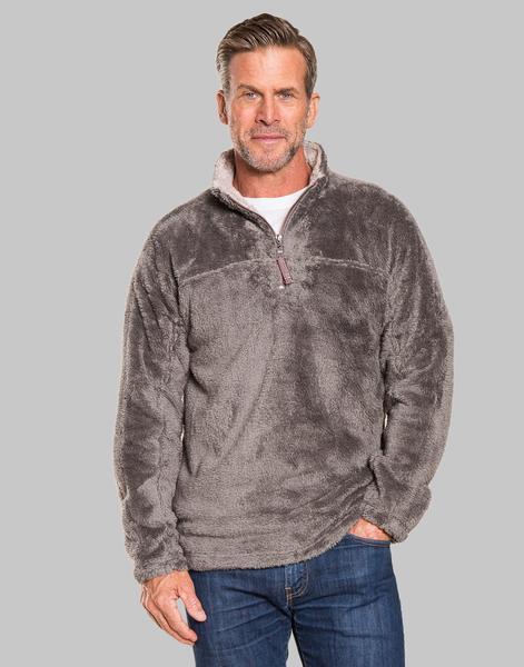 True Grit   Herren Zip Pullover Double Plush Sweater Charcoal S