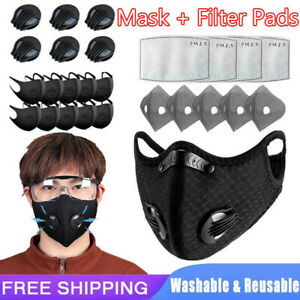 Face Mask + Filter Pad Insert 10PC 3/4/5Layers Cycling W/Valve Reusable Washable
