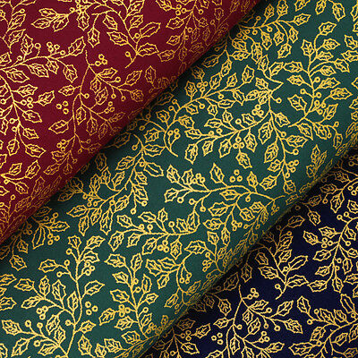 Cotton Fabric by FQ Season's Greetings Christmas Golden Leaves Vintage Leaf VK41