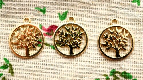 Tree round gold 3 charms pendant jewellery supplies C722