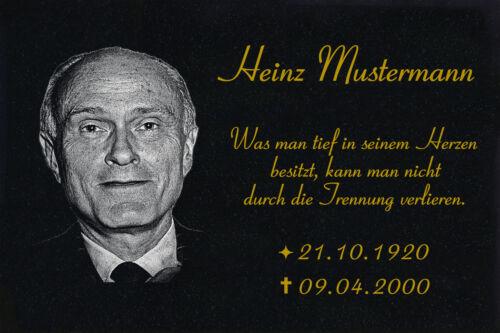 GRANIT Grabplatte Grabmal Gedenkstein Grabstein g02 Aufschrift+Fotogravur► 50x30