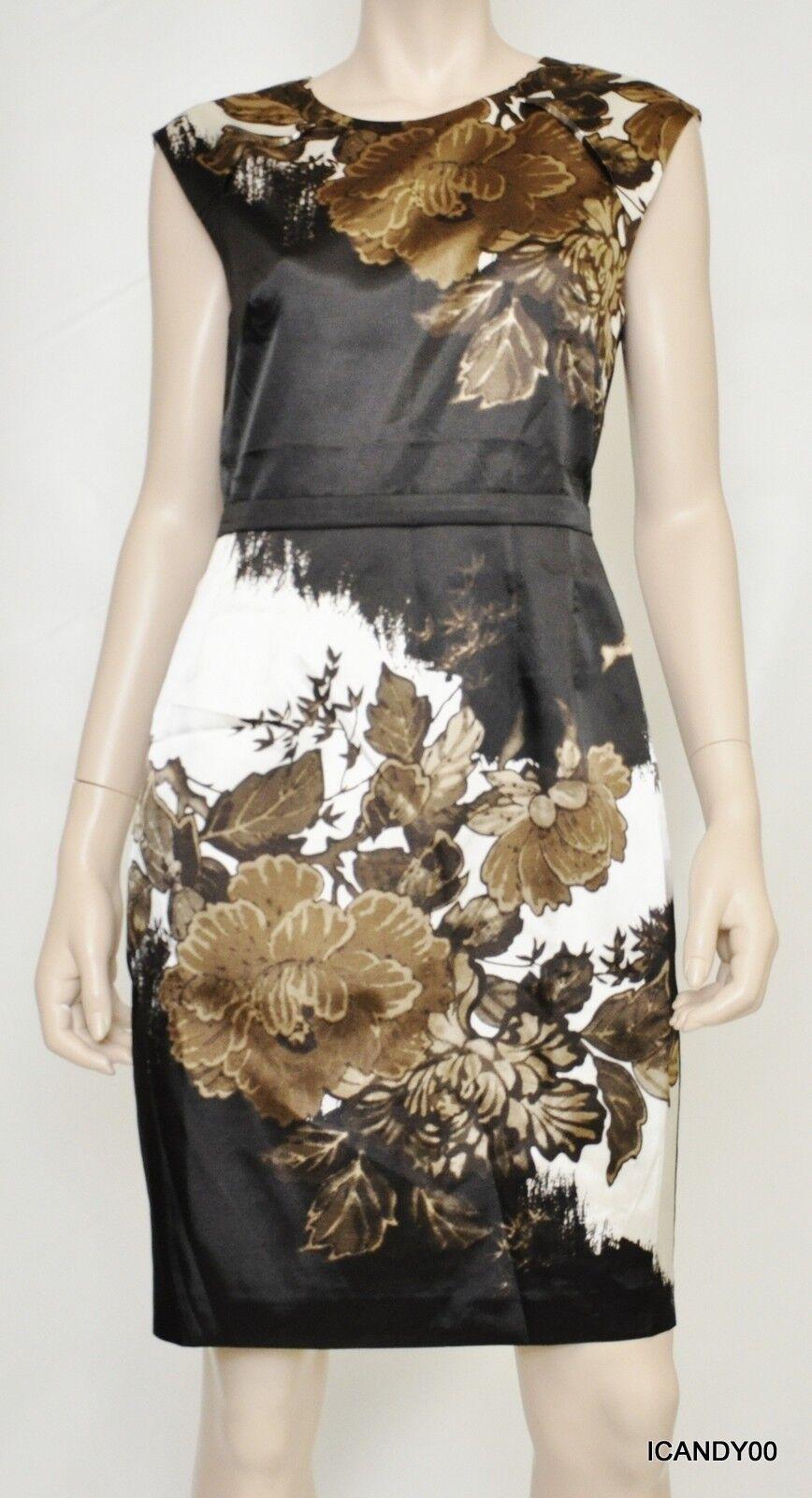 Nwt Nwt Nwt  248 Tahari SHANA Floral Stretch Sheath Lined Dress Top Tunic Brown 6 c3181d