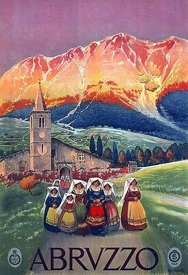 Abruzzo 1926 - Italy, Italian vintage old repro travel poster