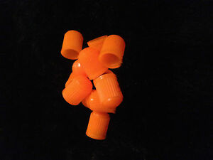 6-Orange-Plastic-Dust-Caps-Car-Bike-Quad-XC-Tyre-KTM-Dust-Caps