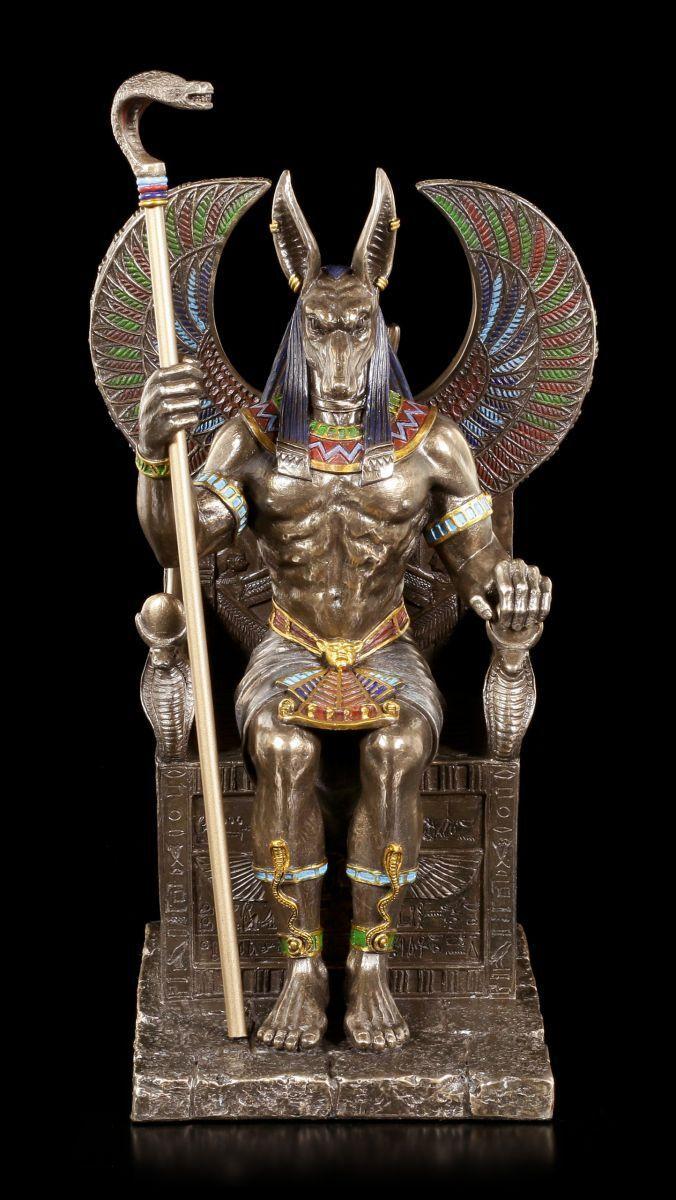 /Égyptien Toten-Gott Noir-Or Figurine de D/écoration H 23 Cm Peint /à la Main Anubis Figurine
