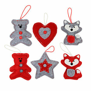 Christmas-Tree-Decorations-Red-amp-Grey-Felt-Fabric-Heart-Animal-Star-3-Designs