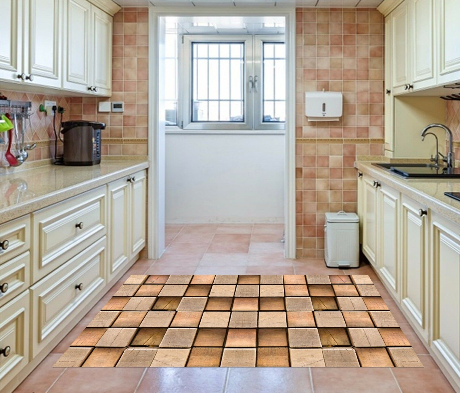 3D Wooden Squares Kitchen Mat Floor Mural Wall Print Wall Deco AJ WALLPAPER AU