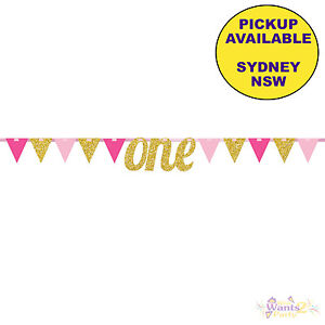 Image Is Loading 1ST FIRST BIRTHDAY PARTY SUPPLIES PINK GOLD GLITTER