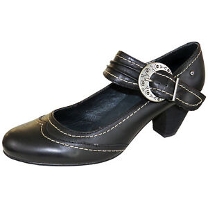 RRP-65-PIKOLINOS-WOMENS-COURT-BUCKLE-SHOES-HEELS-BLACK-LEATHER-MODEL-UK-6-5-7-5