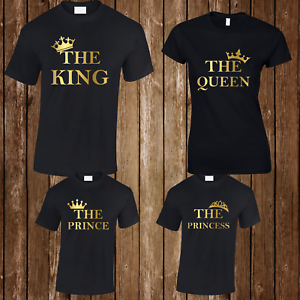King Queen Prince Princess T Shirt Mens Ladies Kids Family Couple