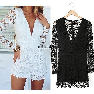 NEW Womens V Neck Long Sleeve Jumpsuit Romper Bodycon Trousers Clubwear LM