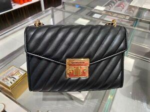 NWT-Michael-Kors-Medium-Rose-Quilted-Leather-MD-Shoulder-Flap-Bag-Black