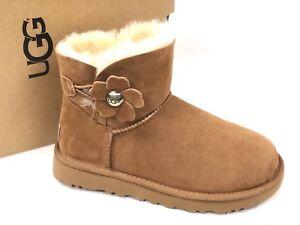 2545ae00c9c Details about UGG Australia Women's Mini Bailey Button Poppy Boot CHESTNUT  1092295 Winter Shoe
