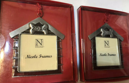 2014-2015 Nicole Mini Picture Photo Frame Ornament Christmas Pet Dog House Red