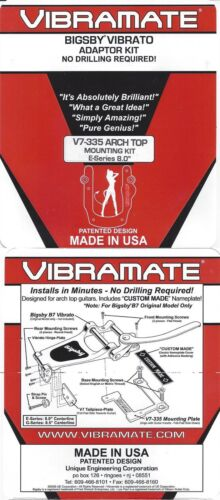"""Aluminum Vibramate V7-335 Arch Top Epiphone 8.0/"""" mounting kit for Bigsby B7"""