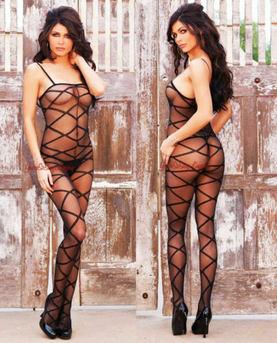 SHEER BODYSTOCKING Criss Cross Stripes CROTCHLESS Tank Style SPAGHETTI Straps OS