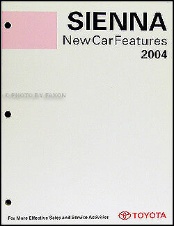 2004 Toyota Sienna Features Service Training Manual 04 New Car Repair Features