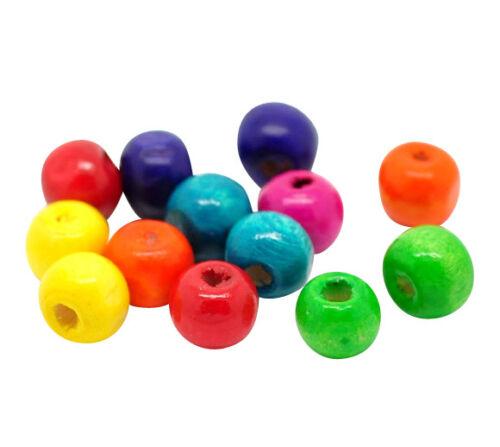 ❤ 250 x WOODEN Round MIXED Beads 8mm x 6mm Jewellery Making UK Stock ❤