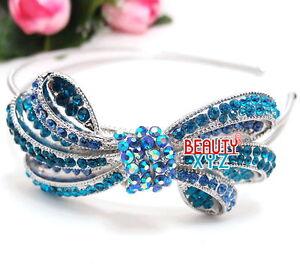 NEW-Elegant-Bridal-Wedding-Crystal-Rhinestone-Blue-color-metal-Bow-headband-88