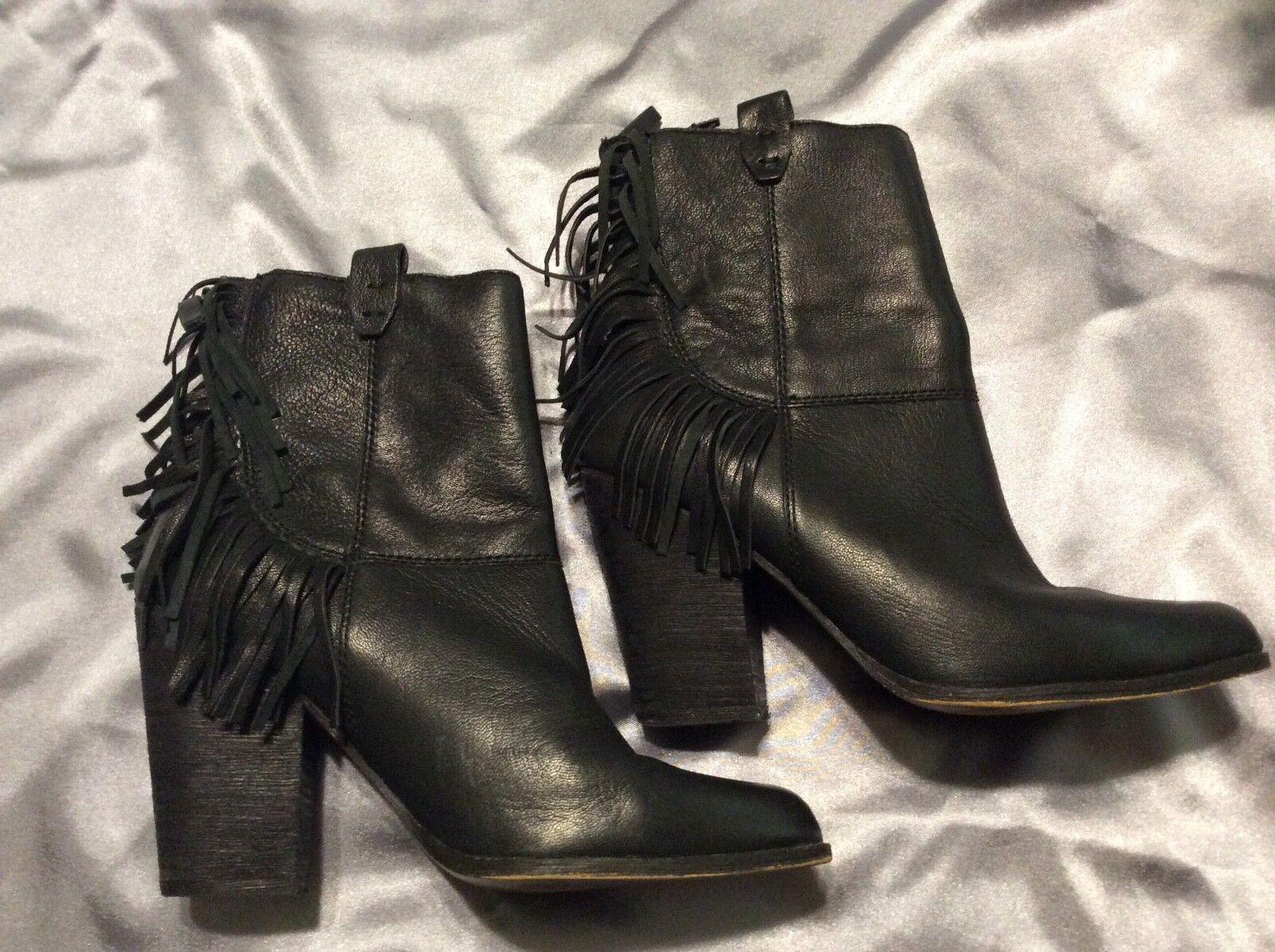 Joe's Jeans Neil Women US 9M  Black Ankle Boot Genuine Leathers Fringe Booties