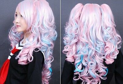 New Arrival Lolita Cosplay 2x Clip pony-tail Long Blue pink mix Curly Wig  ha:01