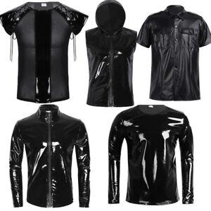 a59a16a3 Mens Leather Wetlook T-shirt Zipper Hoodie Tank Top Slim Muscle ...