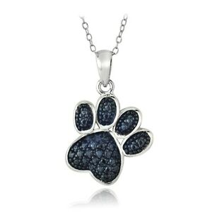 Sterling-Silver-Treated-Blue-Diamond-Accent-Paw-Print-Necklace