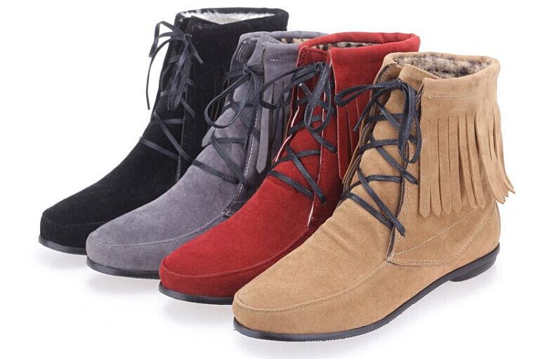 Stiefeletten Stiefel Schuhe Absatz 1.5 cm Leder Kunststoff Fransen Komfortabel