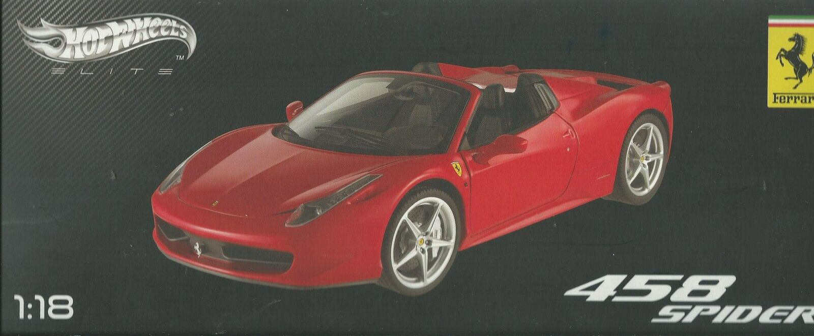 HOT WHEELS ELITE FERRARI 458 ITALIA SPIDER ROJA EDIZIONE LIMITATA W1177