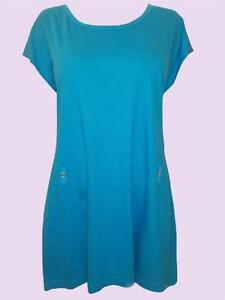SPECIAL-OFFER-NEW-F-S-Ex-M-amp-S-Turquoise-Cotton-Scoop-Neck-Dress-Size-8-to-14
