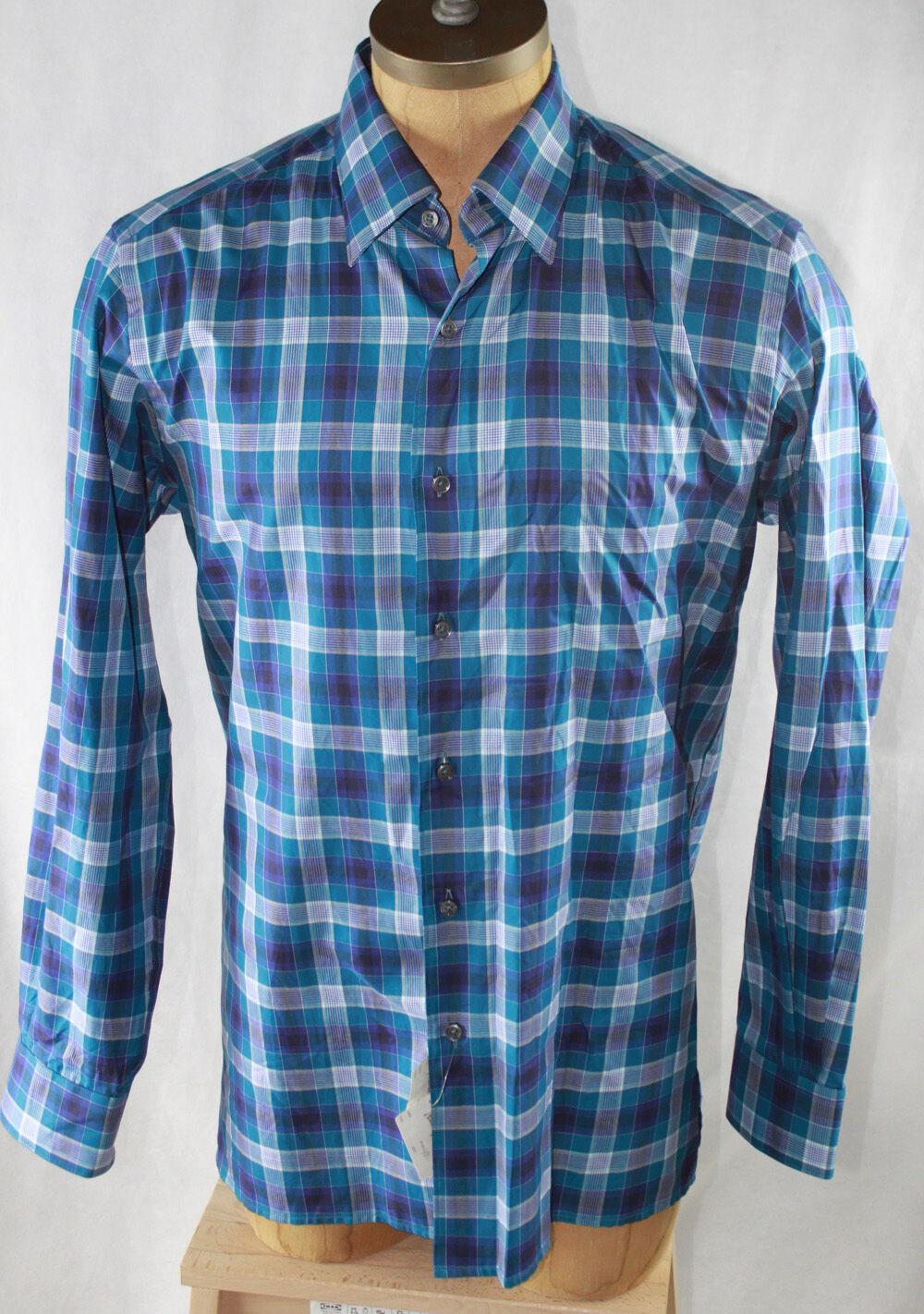 AUTH  Ermenegildo Zegna Men's Long Sleeve Plaid Shirt L