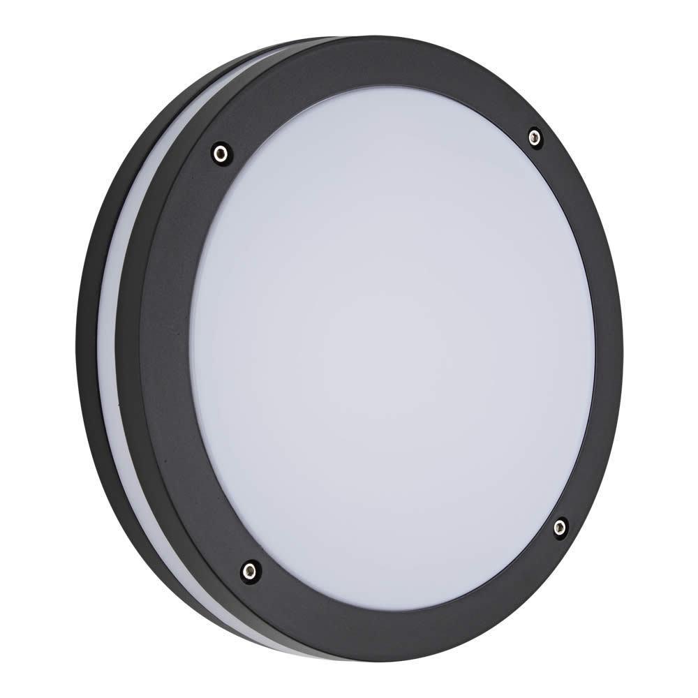 15 Watt Luce LED WALL PACK NERO FULL MOON IP65 luce laterale rotondo all'aperto