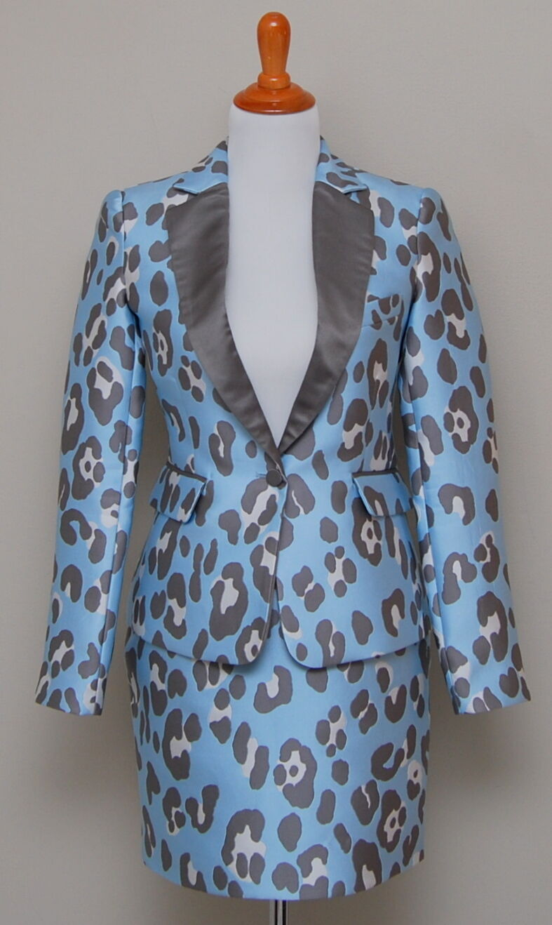NWT Womens Adam Lippes 2 Piece Sky Leopard Print Silk Skirt Suit