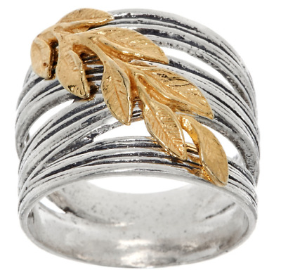 OR PAZ STERLING SILVER TWO-TONE OXIDIZED LEAF RING SIZE 8-1//2 QVC
