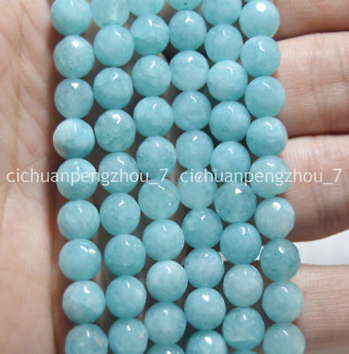 10mm Natural Round Blue Brazilian Aquamarine Gemstones Loose Beads 15/""