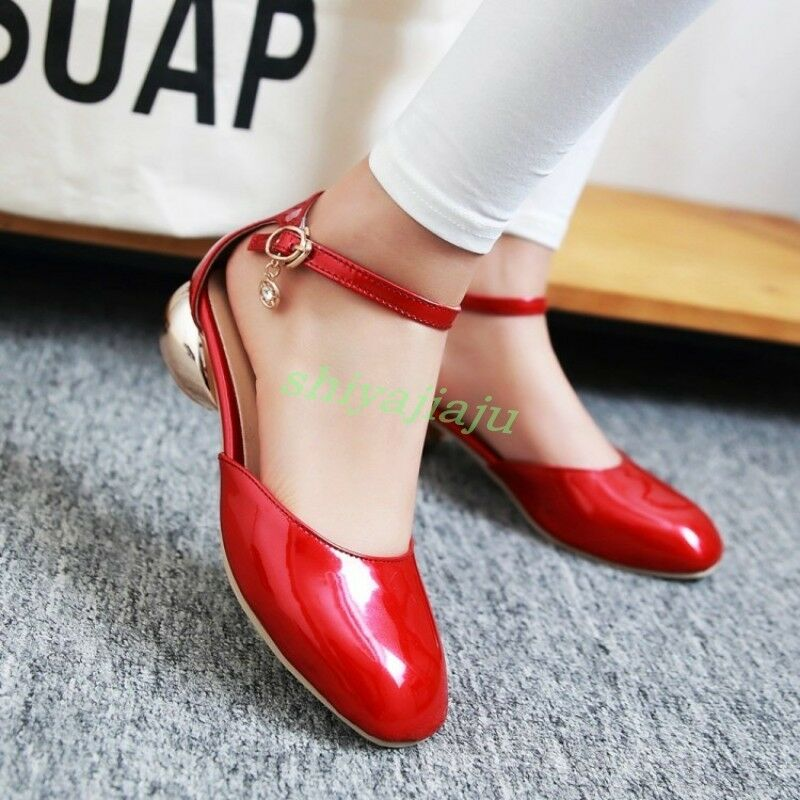 Womens Lolita Mary Jane Ankle Strap Strap Ankle Patent leather Block Low Heels Dating Shoes 5415c7