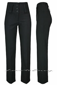 82c4418a05 Image is loading LADIES-GIRLS-BLACK-HIGH-WAISTED-TROUSERS-QUALITY-SCHOOL-