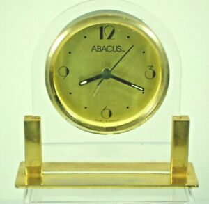 Abacus-Table-Alarm-Clock-Quartz-Gold-Germany-Mvmt-Art-Deco-Style-Numbers-5-034-X5-034