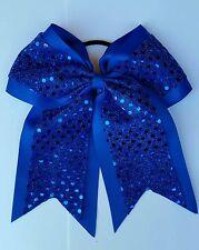 "8"" Blue, Sequins, Big Cheer Bows, Softball Cheerleading, UCLA, LA Rams"