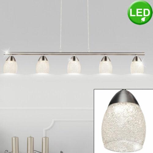 Luxus LED Hänge Lampe Kristall Decken Strahler Ess Zimmer Chrom Pendel Leuchte