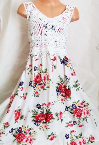 Filles Blanc Crème Dentelle Rose Imprimé Floral Vintage Boho pleine longueur robe longue