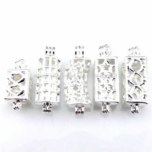 21799-L 5X//lot Bright Silver Mix Love Leaf Rectangle Short Tube Oyster Bead Cage